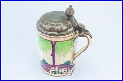 1789 Faience Beer Stein Pewter Lid German Hannoversch-Munden Antique Mug Horse
