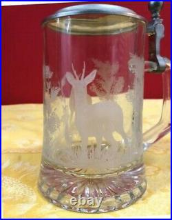 4 German Beer Steins / Seidel / Tankards, with Pewter Lids. New, never used