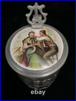 ANTIQUE LIDDED BEER STEINS 2pcs GERMAN SWISS Glass Pewter Porcelain w Enamel Art