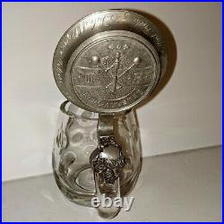Amazing Antique German Cut Glass Crystal Beer Stein Mug With Pewter Lid Dated 1907