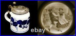Antique 1800's German Bar Dancers Lithophane Mono'd Pewter Lid Beer Stein Mug