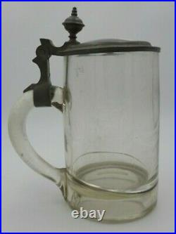Antique 1800's German Lidded Glass & Pewter Beer Stein /w Hand Painted Porcelain