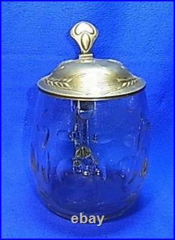 Antique Art Nouveau German Tin Top Glass Lidded Beer Stein #XX