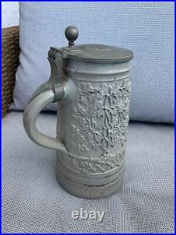 Antique Big German Westerwald Stoneware Beer Stein Mug Brewmaster Tin Lid