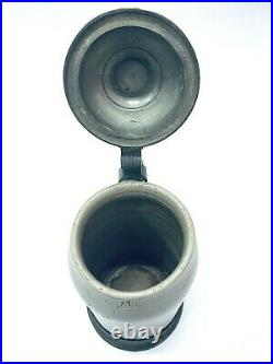 Antique German Beer Stein 1L with Inlaid Pewter Lid and Foot Ring BEAUTIFUL Gift