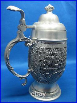 Antique German Embossed Pewter Beer Mug WithHandle/Lid 4 Scene Series Lindenwirtin