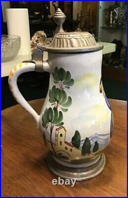 Antique German Faience Beer Stein 1700s Boy with Cello Theme Pewter Lid