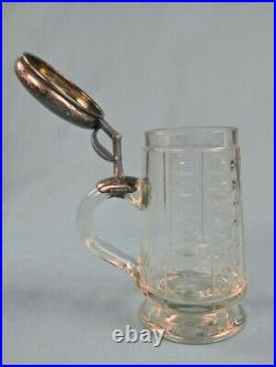 Antique German Germany 1886 Presentation Silver & Glass Lidded Beer Stein Mug