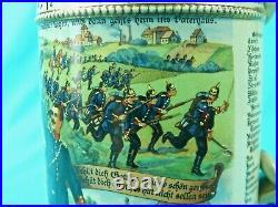 Antique German Germany WW1 142 Regiment Reservist Ceramic Lidded Beer Stein