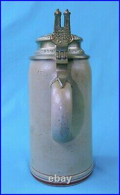 Antique German Germany WW1 1896 Regimental Ceramic Lidded Beer Stein