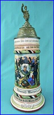 Antique German Germany WW1 87 Reservist Litho Porcelain Lidded Beer Stein Mug