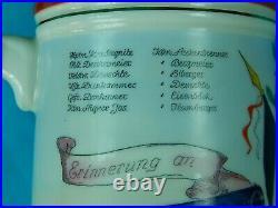 Antique German Germany WW1 Artillery Regiment Porcelain Litho Lidded Beer Stein