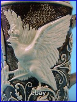 Antique German Germany WW1 Kaiser Friedrich Ceramic Lidded Beer Stein Mug