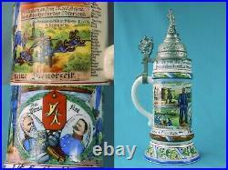 Antique German Germany WW1 Military Regimental Porcelain Lidded Beer Stein Mug 1