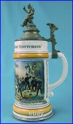 Antique German Germany WW1 Military Regimental Porcelain Lidded Beer Stein Mug 2