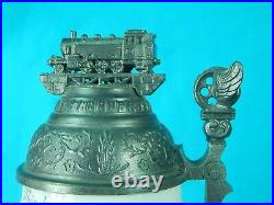 Antique German Germany WW1 Railroad Locomotive Porcelain Litho Lidded Beer Stein