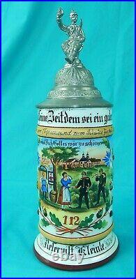 Antique German Germany WW1 Regimental 1903 Porcelain Litho Lidded Beer Stein