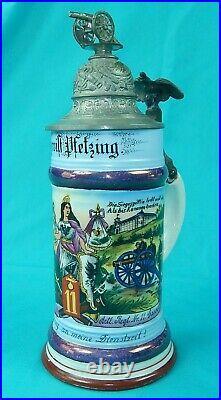 Antique German Germany WW1 Regimental Artl. Porcelain Litho Lidded Beer Stein