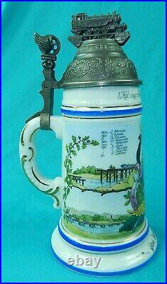 Antique German Germany WW1 Regimental Engine Porcelain Litho Lidded Beer Stein