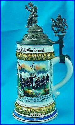 Antique German Germany WW1 Regimental Military Litho Lidded Beer Stein