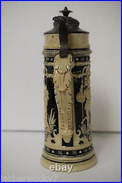 Antique German Gerz No. 866 Lidded Stoneware Beer Stein RARE