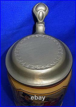 Antique German Lidded Beer Stein Tin Top Toast the first Mug. #XX
