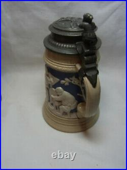 Antique German Mettlach V&B Lidded Beer Stein Bowling Kegeln #^