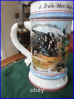 Antique German Military Lidded GERZ Beer Stein Late 1800's