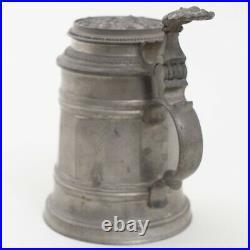 Antique German Pewter Lidded Beer Tankard Stein Mug w. Glass Bottom 6 Inscribed