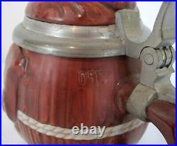 Antique German Reinhold Merkelbach Lidded Figural Beer Stein Friar Monk 0.5L