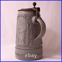 Antique German Stoneware Beer Stein King Gambrinus Regensburg withCat Lid c. 1870s