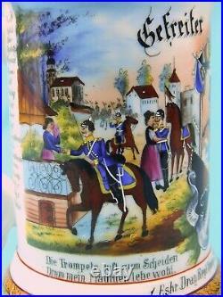 Antique German WW1 1900-03 Regiment Litho Porcelain Lidded Beer Stein Mug