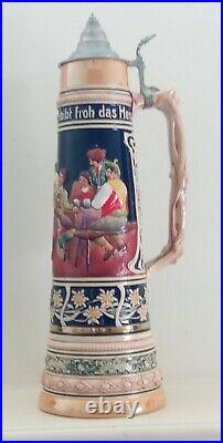 Antique Gerzit GERZ German Beer Stein Extra Large 4 Liter with lid