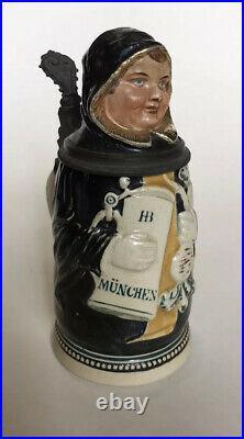 Antique J. Reinemann German Lidded Beer Stein Munich Child