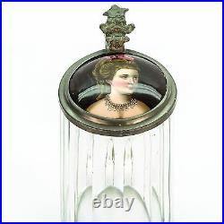 Antique Lidded Cut Glass Mug German Beer Stein Inlaid Lid Portrait Matilda