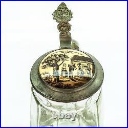 Antique Lidded Glass Mug German Beer Stein Inlaid Lid Dance Institute 1900's