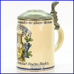 Antique Lidded Mug German Beer Stein Student Trophy Music Academy circa 1900's