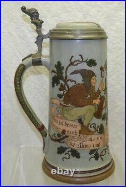 Antique Marzi Remy Gnomes Vines 1L German Etched Beer Stein 1619 Pewter Owl Lid