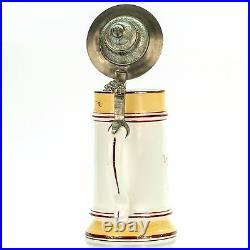 Antique Porcelain German Lidded Beer Mug Stein with Lithophane Germany 1900s