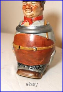 Antique Reinh Merkelbach figural German pottery pewter lidded beer stein tankard