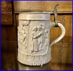 Antique Salt Glaze Stoneware German Stien Lidded Beer Mug Peasants Dance 1850s