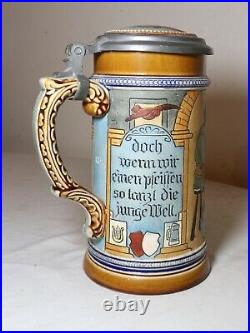 Antique hand made painted Mettlach German pottery pewter lidded beer stein #884