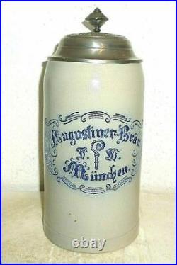 Augustiner Brau Munich Oktoberfest 2014 lidded Masskrug German Beer Stein
