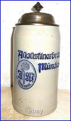 Augustiner Brau Munich Oktoberfest 2018 lidded 1L Masskrug German Beer Stein