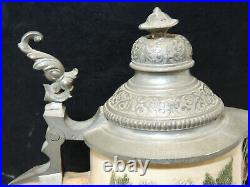 C1890 Antique Lidded 14 German Beer STEIN Monkey Insects Barley Hops Relief