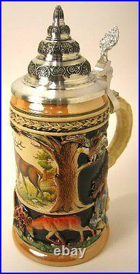 Collectable German Lidded Beer Stein. Hand-painted Alpine Wildlife
