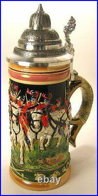 Collectable German Lidded Beer Stein. Hand-painted Husars Horse