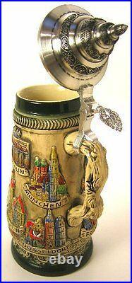 Collectable LTD German Lidded Beer Stein. Hand-painted City Scenes