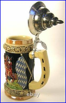 Collectable LTD German Lidded Beer Stein. Hand-painted Keg Wagon