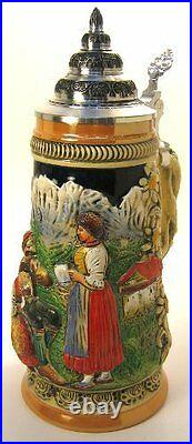 Collectable LTD German Lidded Beer Stein. Hand-painted Mountain Alps